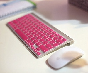 pink, keyboard, and apple image