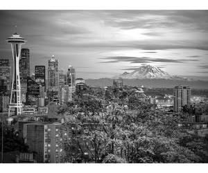 city, seattle, and black and whire image