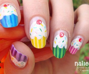cupcakes, nail art, and nails image