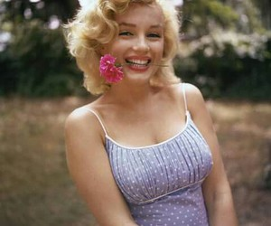Marilyn Monroe, flowers, and vintage image