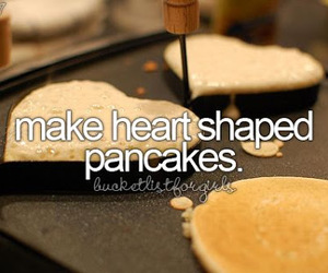 pancakes, heart, and heart shaped image