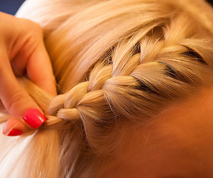 blonde, hair, and plait image