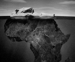 iceberg, africa, and black and white image