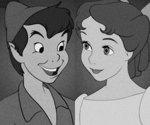 black and white, disney, and neverland image