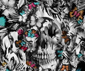 psychedelia, trippy skull, and melting skull image