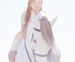 horse, girl, and white image