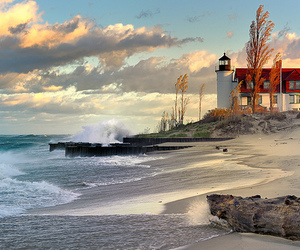 beach, lighthouse, and sea image