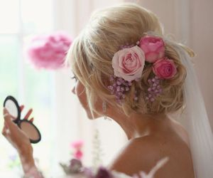 pink, roses, and veil image