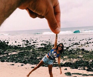 beach, couple, and funny image