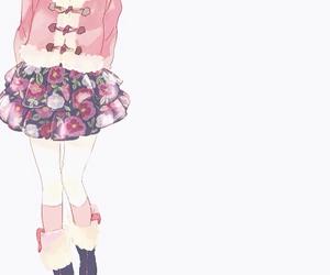 anime girl, floral pattern, and kawaii image