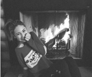 blonde, cozy, and fireplace image