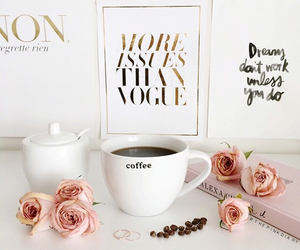 coffee, rose, and vogue image
