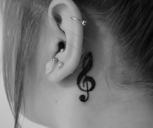 black and white, earing, and ink image