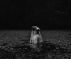 girl, water, and dark image