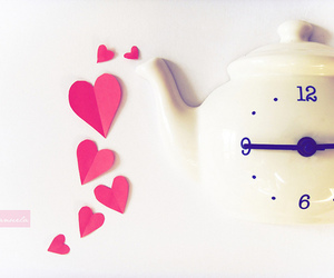 clock, heart, and pink image