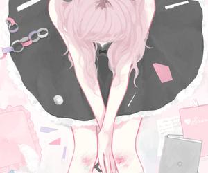 black dress, girl, and manga image