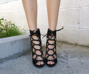 black, heels, and lace up heels image