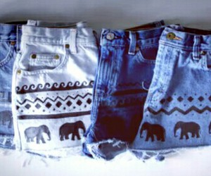 boho, elephant, and shorts image