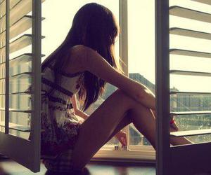 alone, thinking, and looking out of window image