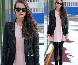 black tights, booties, and fashion image