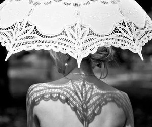 bride, dress, and umbrella image