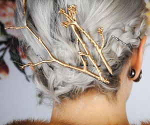 accessory, silver hair, and hair colour image