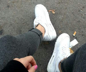 air max, whiteshoes, and pinknails image