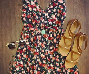 dress, flowers, and glasses image