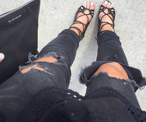black, jeans, and ripped image