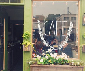 cafe, flowers, and green image