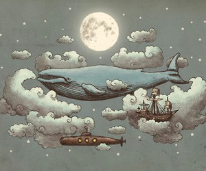 clouds, floating, and moby dick image