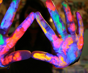 hands, paint, and neon image