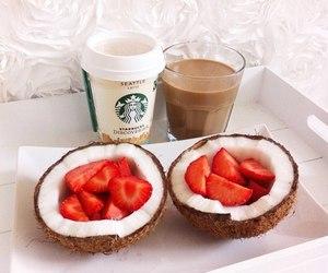 strawberry, starbucks, and food image