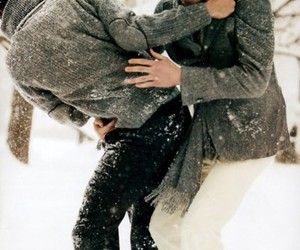 snow, couple, and boy image