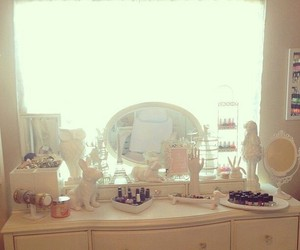 bedroom, girly, and makeup table image