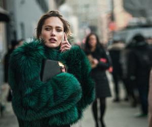 fashion, coat, and green image
