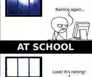 funny, rain, and school image