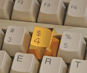 gold, money, and keyboard image