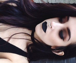 black, dark, and make up image