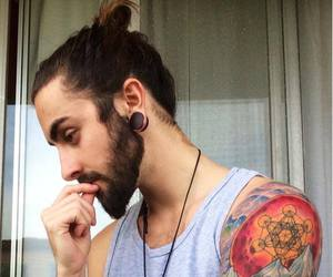 tattoo, hipster, and beard image
