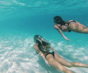 bff, girls, and sea image