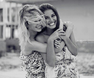 black and white, girls, and happy image