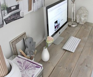 desk, room, and apple image