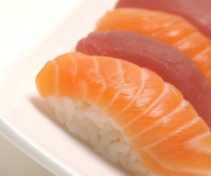 nigiri, salmon, and sushi image