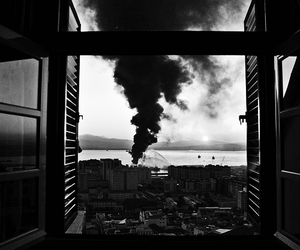 city, window, and fire image