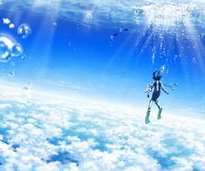 anime, blue, and sky image
