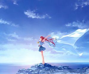 anime, anime girl, and sunset image