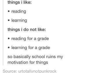learning, hate school, and reading image