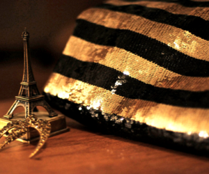 eiffel tower, paris, and gold image