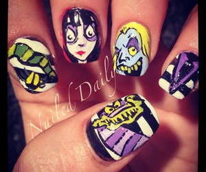 beetlejuice, nail art, and nails image
